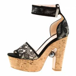 Nicholas Kirkwood Black Lace Maya Pearl Platform Ankle Strap Sandals Size 37.5 175858
