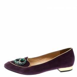 Charlotte Olympia Purple Suede Birthday Pisces Zodiac Flats Size 39 176380