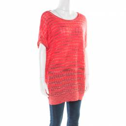 M Missoni Pink Perforated Patterned Knit Ribbed Trim Top L 176666
