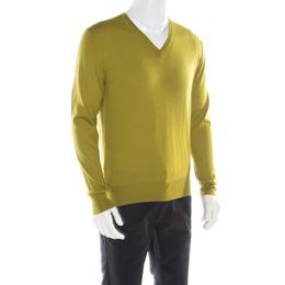 Hermes Lime Green Cashmere Silk Long Sleeve V Neck Sweater L 177051