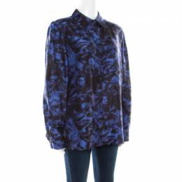Sonia Rykiel Purple Abstract Printed Silk Button Front Shirt L 177444