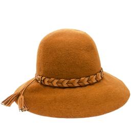 Hermes Mustard Yellow Felt Braided Leather Tassel Trim Fedora Hat Size 57 177320