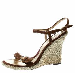 Cesare Paciotti Brown Suede Leather Ankle Strap Wedge Sandals Size 40 178053
