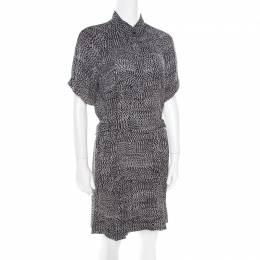 Diane Von Furstenberg Monochrome Printed Silk Pharo Shirt Dress M 180171