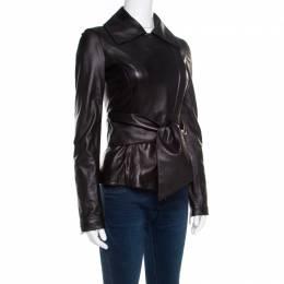 Elie Saab Black Lamb Leather Waist Tie Detail Biker Jacket S 179533