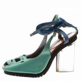 Fendi Green Leather Ankle Strap Plexi Heel Sandals 38.5