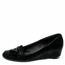 Stuart Weitzman Black Python Embossed Leather Wedge Tassel Detail Loafers Pumps Size 41 180725