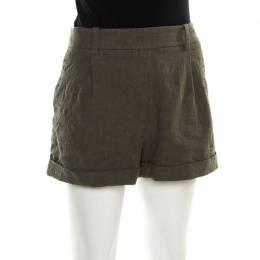 Diane Von Furstenberg Olive Green Cotton Jacquard Gillian Pleated Shorts L 180859