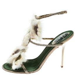 Rene Caovilla Beige Fur And Crystal Embellished Strappy Sandals Size 38 182175