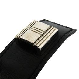 Hermes Artemis Black Box Calf Leather Palladium Plated Bracelet 181002