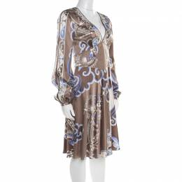 Emilio Pucci Brown and Blue Printed Silk Plunge Neck Long Sleeve Dress M 182744