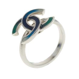 Chanel CC Blue Enamel Silver Tone Ring Size 53 183611