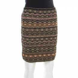 M Missoni Multicolor Patterned Lurex Knit Tube Skirt L