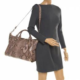 Bally Beige Python Top Handle Bag 183794
