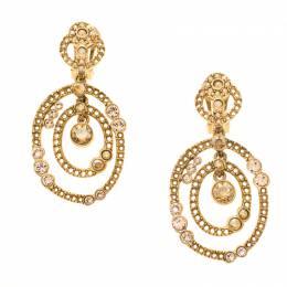 Oscar De La Renta Crystal Gold Tone Dangle Clip-on Earrings 183887