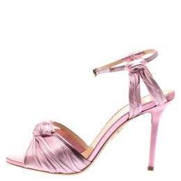 Charlotte Olympia Metallic Pink Ruched Leather Broadway Ankle Strap Sandals Size 39.5