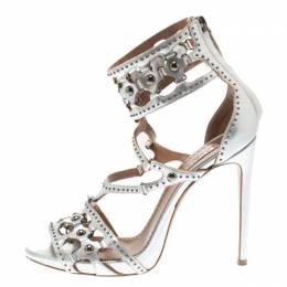 Alaia Metallic Silver Studded Leather Cutout Cage Sandals Size 38 183630