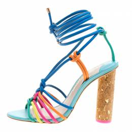 Sophia Webster Multicolor Leather Cord Copacabana Cork Heel Ankle Wrap Sandals Size 36.5 184229