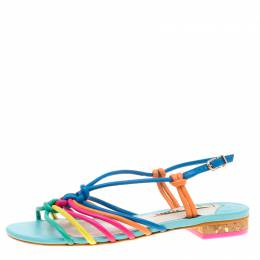 Sophia Webster Multicolor Leather Cord Copacabana Flat Sandals Size 37.5 184202