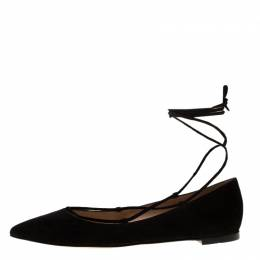 Gianvito Rossi Black Suede Femi Ankle Wrap Pointed Toe Flats Size 36.5 183932