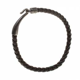 Bottega Veneta Brown Intrecciato Woven Leather Single Hook Bracelet 183804