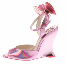 Sophia Webster Metallic Pink Holographic Leather Rizzo Ankle Strap Chrome Wedge Sandals Size 36.5 184222