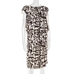 Diane Von Furstenberg Brown and White Printed Silk Jersey Boat Neck Dress M 184297