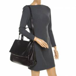 Givenchy Black Leather Pandora Flap Top Handle Bag 184821