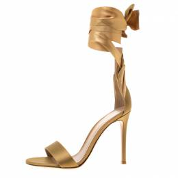 Gianvito Rossi Gold Satin Gala Ankle Wrap Open Toe Sandals Size 35.5 183845