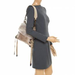 Baldinini Beige Fur and Croc Embossed Leather with Fur Lining Shoulder Bag 184813
