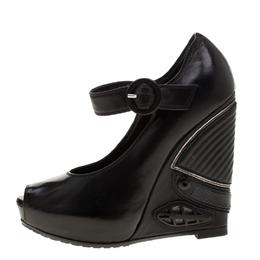 Loriblu Black Leather Wedge Peep Toe Mary Jane Pumps Size 36 186602