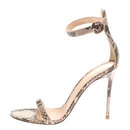 Gianvito Rossi Two Tone Python Leather Portofino Ankle Strap Sandals Size 41 186798