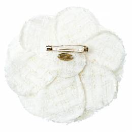 Chanel White Tweed Camellia Brooch 186313