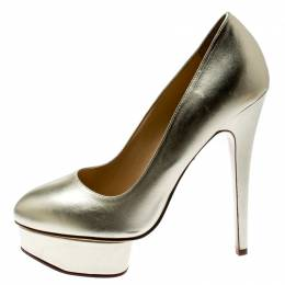 Charlotte Olympia Metallic Gold Leather Dolly Platform Pumps Size 39.5