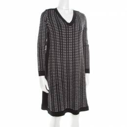 M Missoni Monochrome Textured Jacquard Knit Long Sleeve V Neck Sweater Dress S