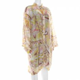 Emilio Pucci Multicolor Washed Out Printed Cotton and Silk Shirt Dress L 186468