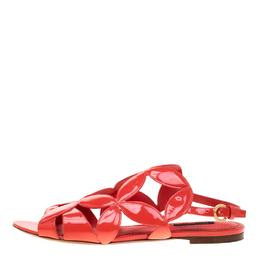 Louis Vuitton Coral Pink Patent Leather Springtime Flat Sandals Size 39 186308
