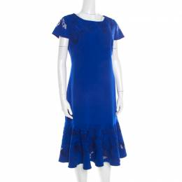 Marchesa Notte Blue Cutout Floral Embroidered Cap Sleeve Flounce Dress XL 192827
