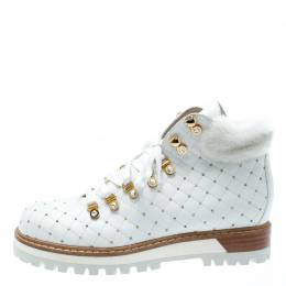 Le Silla St.Moritz White Quilted Leather Fur Lined Trekking Boots Size 41