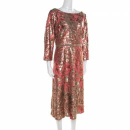 Marchesa Notte Pink and Gold Floral Sequined Midi Tea Dress XL 195064