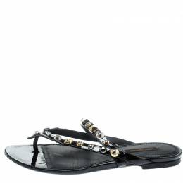 Louis Vuitton Black Leather Studded Thong Sandals Size 37.5 195102