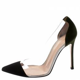 Gianvito Rossi Black/Green Suede And PVC Plexi Pointed Toe Pumps Size 37 195087
