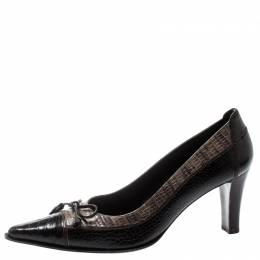 Stuart Weitzman Two Tone Lizard And Croc Embossed Leather Bow Pointed Toe Pumps Size 38.5 195608