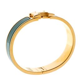 Hermes Clic Clac H Verona Green Enamel Gold Plated Narrow Bracelet PM 195789