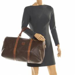 Celine Brown Macadam Coated Canvas and Leather Duffle Bag 197377