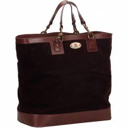 Celine Dark Brown Corduroy Tote Bag 137216
