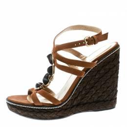 Stuart Weitzman Brown Nubuck Leather Platform Wedge Ankle Strap Sandals Size 39.5 176137