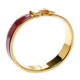 Hermes Clic Clac H Rouge de Chine Enamel Gold Plated Narrow Bracelet PM 186310