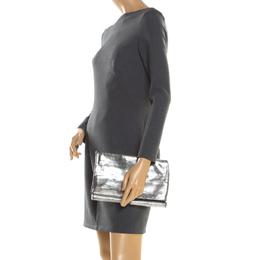 Diane Von Furstenberg Silver Metallic Leather Bonnie Foldover Clutch 197007