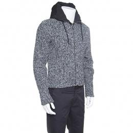 Dolce&Gabbana Grey Melange Wool Quilted Vest Underlay Zip Front Hooded Jacket S